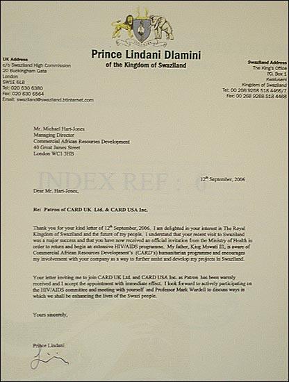 Prince Lindani Dlamini letter to CARD