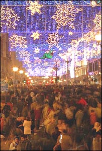 Christmas shoppers in Regent Street, London