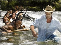 Mel Gibson directs a scene from Apocalypto