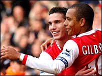 Gilberto Silva (right) scored twice from the spot