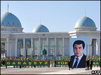 A giant poster of late President Niyazov in the Turkmen capital (file image)