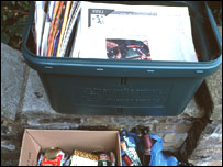Goods ready to be collected for recycling