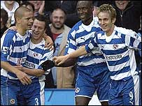 Reading celebrate Kevin Doyle's (far right) winner against Bolton