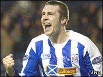 Colin Nish celebrates scoring against his former club