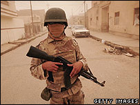 An Iraqi soldier on patrol in Falluja in Anbar province