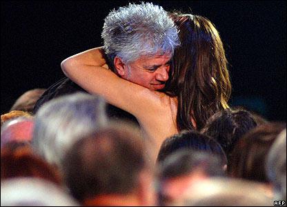Penelope Cruz hugs Petro Almodovar