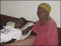HIV-positive Flore Irene Etang with her mother Clair Melane Messou