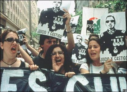 Manifestación contra Pinochet
