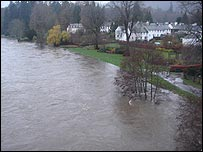 View from Dunkeld Bridge looking towards the cathedral