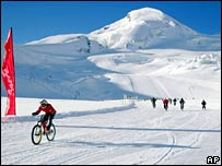 Cyclists on glacier. Image: AP