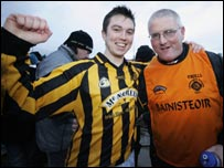 Stephen Clarke and Donal Murtagh celebrate