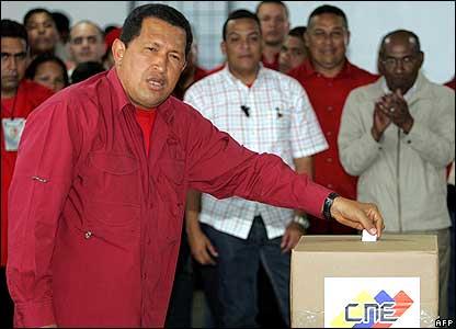 Hugo Chavez voting