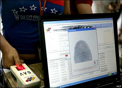 Voter being fingerprinted