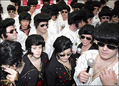 More than 100 Elvises at Gatwick Airport
