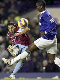 West Ham's Carlos Tevez and Everton's Joseph Yobo