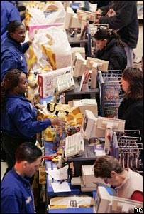US shoppers at tills in Toys R US store