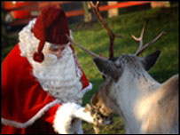 Father Christmas and reindeer