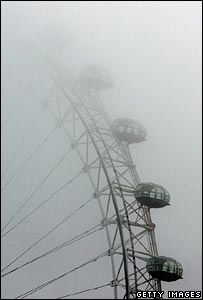 The London Eye surrounded by fog
