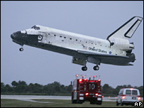 Space Shuttle Discovery lands at the Kennedy Space Center