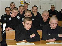 Young offenders in lessons at Vospitaltelnaya Koloniya
