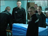 Young offenders making sacks at Vospitaltelnaya Koloniya