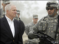 Robert Gates visiting US troops in Iraq, Dec 2006