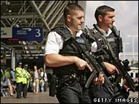 Armed police patrol at Heathrow