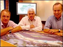 Mike Hall (left) and Paul Guy (right) of stadium developers PMG Estates with Cardiff City chairman Peter Ridsdale