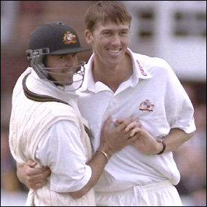 Glenn McGrath savours one of his many wickets