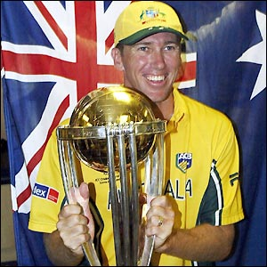 McGrath poses with the World Cup after winning it in 2003