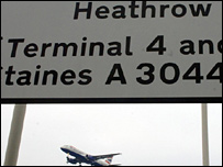 Airport sign and aeroplane