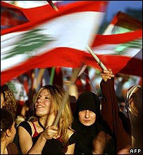Lebanese anti-government supporters