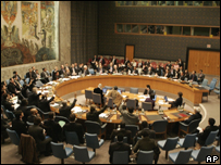 Members of the UN Security Council vote on the resolution