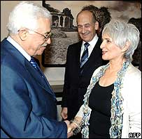 (left to right) Palestinian Authority President Mahmoud Abbas, Israeli Prime Minister Ehud Olmert and Aliza Olmert