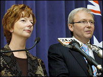 Newly-elected Labor Party leader Kevin Rudd (right) and deputy leader Julia Gillard