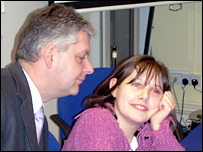 Hannah with her father Dr Mark Downs