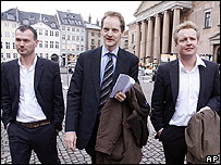 Michael Bjerre, left, Niels Lunde, centre, and Jesper Larsen