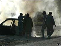 Police help extinguish blaze after suicide bombing in Kandahar