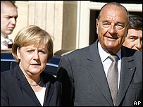 German Chancellor Angela Merkel and French President Jacques Chirac