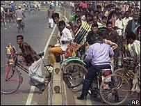 Rickshaw rider in Dhaka