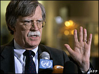 Outgoing UN Ambassador John Bolton of the United States