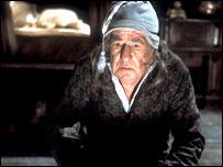 Michael Horden as Ebenezer Scrooge in Elaine Morgan's dramatisation of A Christmas Carol.