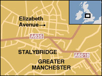 Map of Elizabeth Avenue in Stalybridge, Greater Manchester
