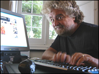 Beppe Grillo at his computer near Genoa, Italy