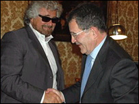 Beppe Grillo (left) meets Italian Prime Minister Romano Prodi (picture courtesy of Beppe Grillo)
