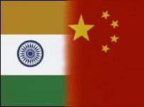 Banderas de India y China