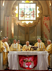 Christmas mass at the Church of the Nativity, Bethlehem, in the West Bank