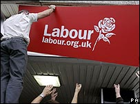 Labour Party sign being installed