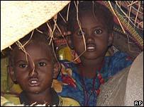 Niños refugiados en Somalia.