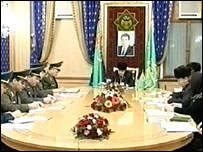 Turkmen TV broadcast a joint session of the State Security Council and the cabinet of ministers